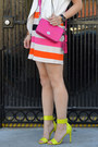 H-m-dress-coach-bag-zara-vest-forever-21-necklace-neon-h-m-heels