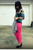 H&M jeans - Lucca Couture kids jacket - H&M shirt - Max Studio heels
