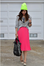 H&M sweater - neon green asos hat - foley & corinna bag - pleat H&M skirt
