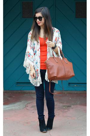 kimono Zara jacket - asos boots - Paige jeans - 31 Phillip Lim x Target bag