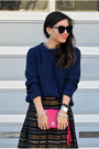Midi-thrifted-skirt-navy-blue-31-phillip-lim-x-target-sweater-pink-coach-bag