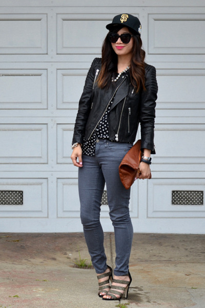 leather H&M jacket - Forever 21 jeans - SF Giants hat - star H&M Kids shirt