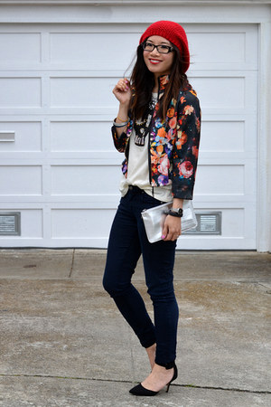 H&M jacket - Paige jeans - Forever 21 hat - metallic random bag