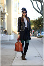 leather H&M jacket - Old Navy boots - beanie Jay-Z concert hat