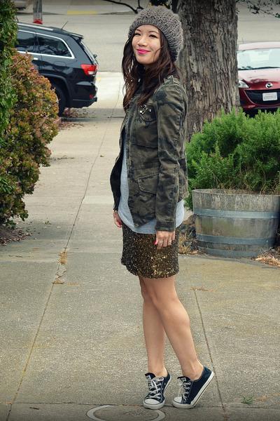 Zara jacket - Converse shoes - f21 hat - Ruehl t-shirt - H&M skirt