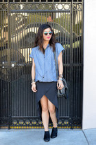 chambray Derek Lam x Kohls jacket - Matiko shoes - high-low hem Zara dress