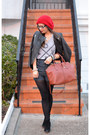 Asos-boots-red-beanie-forever-21-hat-leather-h-m-jacket