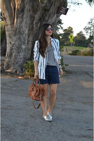 navy banana republic shorts - silver Nordstrom shoes - boyfriend Zara blazer