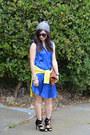 Cobolt-blue-h-m-dress-h-m-hat-thrifted-sweater-clare-vivier-bag