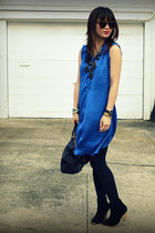 JCrew necklace - asos boots - H&M dress - Prada bag - Karen Walker sunglasses