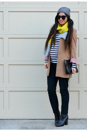 H&M boots - H&M coat - stripes Gap shirt - Gap scarf - Target pants