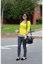 thrifted sweater - Forever 21 jeans - foley & corinna bag - velvet Zara loafers