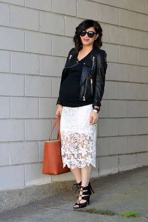 lace thrifted skirt - leather H&M jacket - tote Mansur Gavriel bag