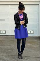 baublebar necklace - Zara dress - faux leather unknown brand jacket