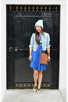 H&M dress - beanie Forever 21 hat - H&M jacket - willis coach bag
