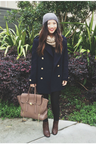 navy blue H&M coat - brown Ross boots - beanie H&M hat