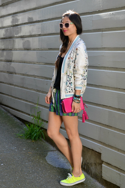 Zara jacket - coach purse - madewell shorts - neon Keds sneakers
