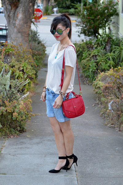Forever 21 shorts - tory burch bag - embellished H&M t-shirt - Zara heels