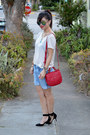 Tory-burch-bag-forever-21-shorts-embellished-h-m-t-shirt-zara-heels
