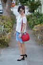 Tory-burch-bag-forever-21-shorts-embellished-h-m-t-shirt-zara-heels