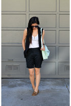 leopard Steve Madden shoes - loeffler randall bag - H&M shorts - Gap top