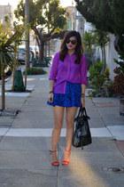 purple H&M shirt - foley & corinna bag - Forever 21 skirt