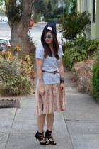 polka dot kate spade skirt - Urban Outfitters hat - Zara heels