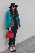 H&M blazer - Forever 21 jeans - Forever 21 hat - polka dot Popbasic shirt