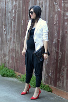 white Zara blazer - clutch Rebecca Minkoff bag - harem nike pants - Gap heels