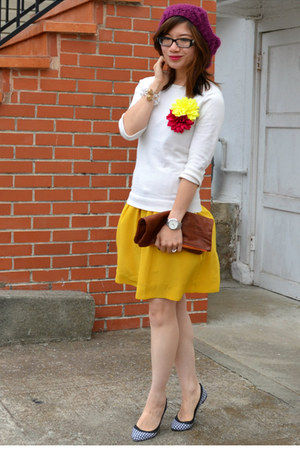 f21 hat - Anthropologie dress - f21 sweater - Zara flats