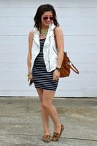 Zara vest - French Connection dress - Michael Kors bag - Steve Madden loafers
