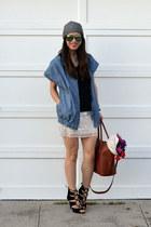 beanie H&M hat - chambray Derek Lam x Kohls jacket - Forever 21 t-shirt
