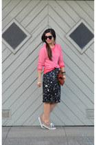 star print random skirt - Clare Vivier bag - leopard print H&M sneakers