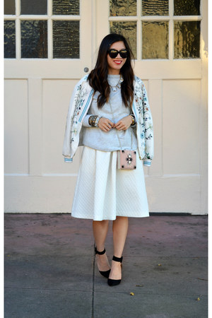 asian print Zara jacket - H&M bag - H&M skirt - Zara heels - Target sweatshirt