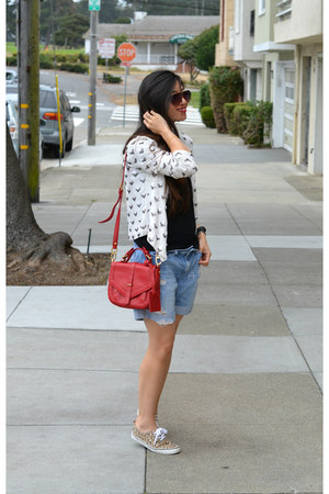 sequin thrifted jacket - red tory burch bag - distressed Forever 21 shorts