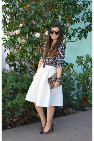 horse print H&M shirt - sequin MINUSEY bag - H&M skirt