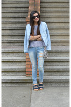 Zara jacket - Ross jeans - stripes H&M shirt - sequin free people bag