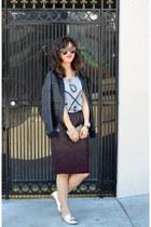 H&M skirt - Zara shoes - faux leather unknown brand jacket - Zoe Karssen t-shirt