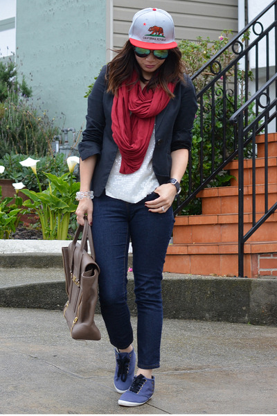 red American Apparel scarf - Forever 21 jeans - this State of Mind hat