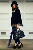 Max Studio heels - Reiss hat - Prada bag - f21 top - viintage cape