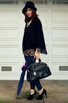 Max Studio heels - Reiss hat - Prada bag - f21 top - viintage cape