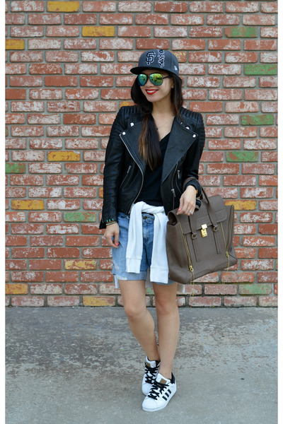 baseball Lids hat - leather H&M jacket - pashli 31 Phillip Lim bag