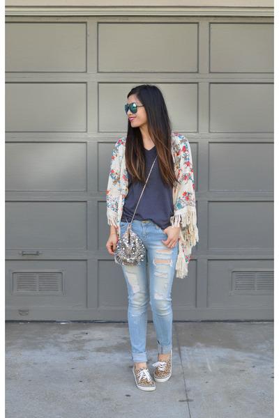 distressed Ross jeans - kimono Zara jacket - sequin free people bag