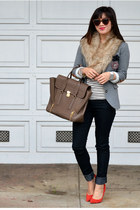 faux fur H&M scarf - Forever 21 jeans - elbow patch H&M blazer