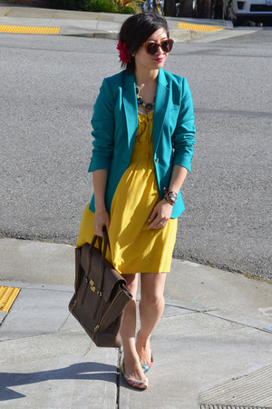 yellow Anthropologie dress - aqua blue H&amp;M blazer - 31 Phillip Lim bag