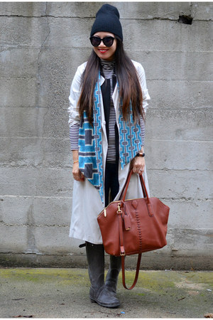 dvf scarf - Hunter boots - trench H&M coat - 31 Phillip Lim x Target bag