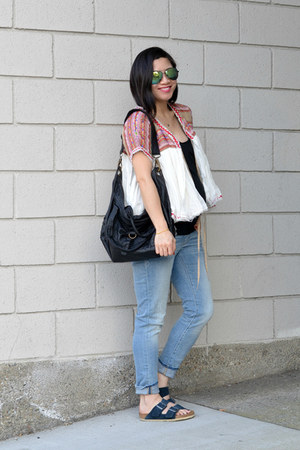 Pea in the Pod Maternity jeans - embroidered Urban Outfitters jacket - H&M bag