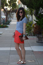 scallop hem Forever 21 skirt - Clare Vivier bag - Karen Walker sunglasses