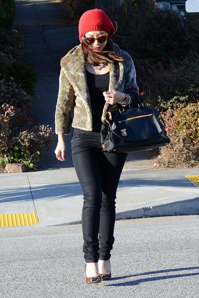 thrifted jacket - Forever 21 jeans - Forever 21 hat - leopard Loft heels