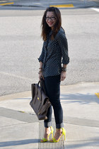 H&M heels - Forever 21 jeans - polka dot Popbasic shirt - 31 Phillip Lim bag